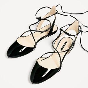 Zara Slingback Lace - Up Ballerina Flats #2418